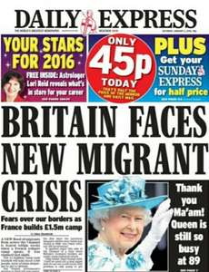 Daily Express only 45p to day plus get Sunday Express for half price