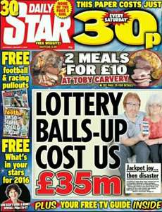 Daily star 30p 2 meals for £10.00 at Toby Carvery more information on page 29