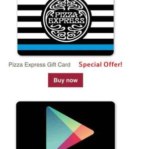 15% off Pizza Express gift cards @ tesco giftcards