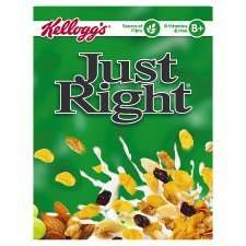 Half Price Cereal At Tesco Kelloggs Just Right Cereal 500G £1.57 / Fruit 'N' Fibre Cereal 750G £1.49/ Special K Red Berries 360G £1.49