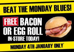 FREE Bacon or Egg roll in-store today only @ TradePoint  Stores
