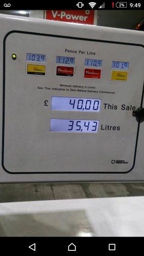 SHELL V power diesel nitro diesel £1.12 per litre