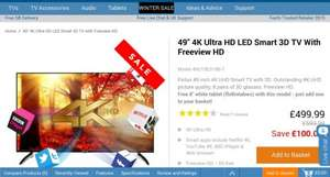 "Finlux 49"" 4K 3D LED TV + Free Tablet when added code in basket flx8intabws £499 @ Finlux Direct"