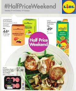 Lidl Half Price Weekend Deals 9th/10th Jan – 6 Pork Fillet Medallions 300g OR Loin Chops 700g £1.39 OR Venison Grillsteaks 300g 99p OR other postcode specific meat offers  – Vitafit Fruit Juice 1L 49p – Knightsbridge Caffeine Free 40 Tea Bags 44p