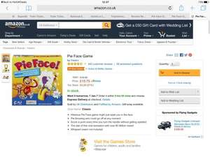 Hasbro Pie Face £15.75 (Prime) / £20.50 (non Prime)   Sold by UK Distributors and Fulfilled by Amazon (Read Discription)