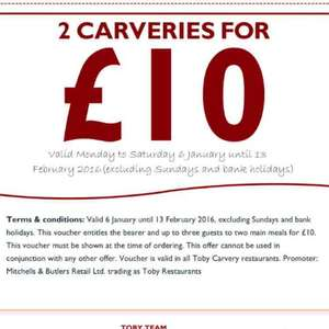 2 X Toby Carvery for £10