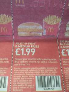 McDonald's fillet n fries £1.99 at McDonald's with voucher from metro newspaper