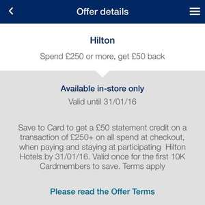 Spend £250 get £50 back at Hilton with Amex