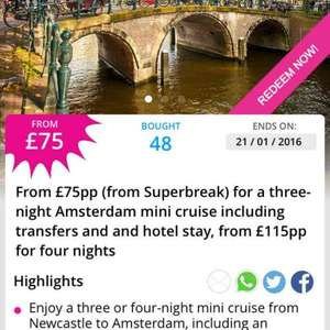 Amsterdam 3-4 night mini cruise & hotel stay from £75 @ wowcher