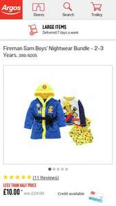 fireman sam dressing gown n pjs £10 at Argos
