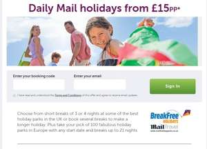 Daily Mail £15 holidays vouchers from 9th January 2016