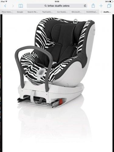 Britax dualfix car seat now £177.50 zebra extended rear facing @ Boots