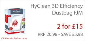 Miele HyClean 3D Efficiency FJM dustbags Value added offer: 2 Boxes for £15, free delivery too @ Miele