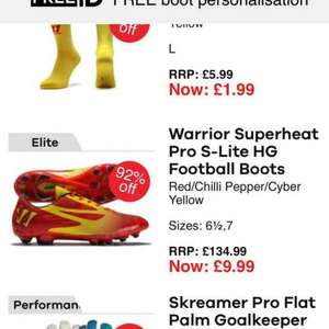 Football/sports equipment. Boots £135.99 down to £9.99 @ Lovell soccer