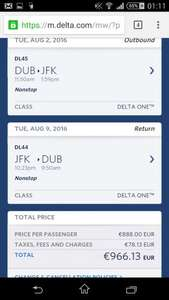 Direct Business class flights Dublin to New York July/August £727 @ Delta or from Belfast for £707