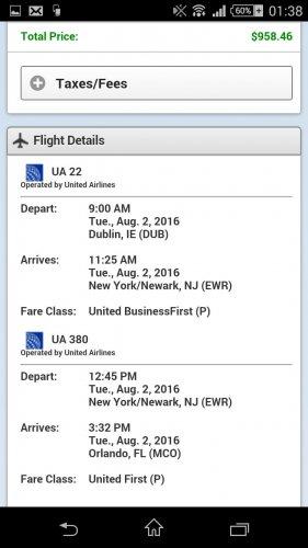 Business class fares Dublin or Belfast to Orlando return £650.40 @ United.com July/August