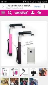 Selfie Sticks £1 plus £3.99 delivery @ toxicfox