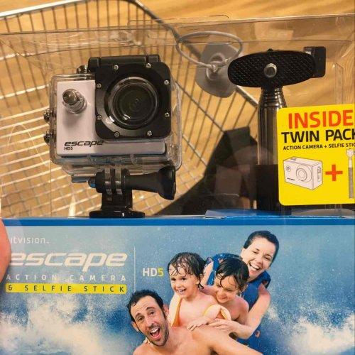 kit vision 720p 1.3 megapixel waterproof camera plus selfie stick in Tesco at Huddersfield road Oldham - £17