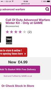 Call of Duty Advanced Warfare Winter Kit @ Game Online and in stores where available £4.99 DELIVERED reduced from £29.99!
