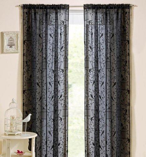 Nightingale Voile Slot Top Curtain Black. Half price £4.50 @ Tesco Direct Free C&C