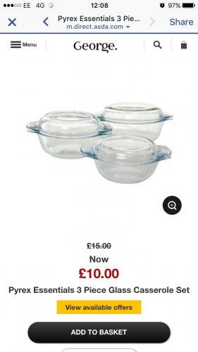 3 Pyrex casserole dishes - £10 @ Asda