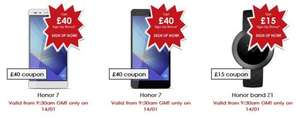 Huawei vMail FLASH SALE - £40 off voucher codes for Honor 7 & Band Z1