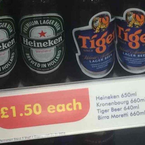 Bargain beers at one stop stores tiger, Heineken, Birra Maretti etc £1.50
