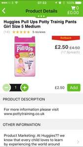 Huggies pull up pants all sizes £2.50 in asda