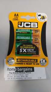 4xAA JCB rechargeable batteries, 1200mAh NiMH - pre-charged at Home Bargains for £3.99