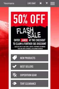 50% off flash sale @ Yeomans Outdoors prices from £1