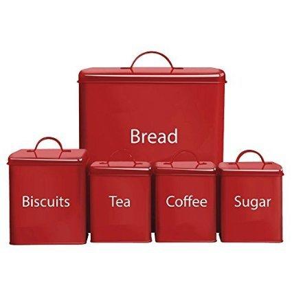 5 Piece Kitchen Storage Set Biscuits Tea Coffee Sugar Bread Bin, In Red or Cream £6.00 at Morrisons