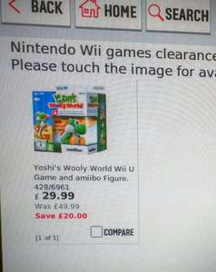 Yoshi's Wooly World for Wii U - including Yoshi green yarn amiibo. £29.99 or £24.99 Argos