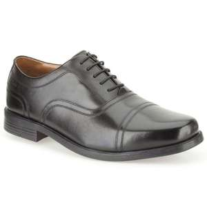 CLARKS BEESTON CAP MENS BLACK LEATHER LACE UP OXFORD SHOES £32 @ Charles Clinkard