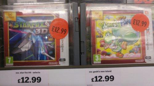 Various Nintendo Select titles for 3DS £12.99 at Sainsburys - Starfox 64, Yoshi's New Island, Zelda: Link Between Worlds, Mario Tennis Open.