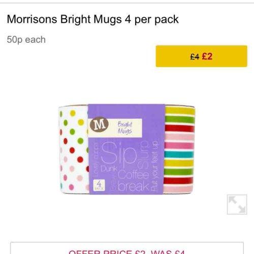 Morrisons 4 pack Mugs £2