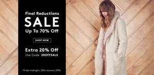 Warehouse - up to 70% off sale items PLUS an extra 20% off until midnight 20th January
