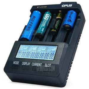 Opus BT - C3100 V2.2 Li-ion Digital NiCd NiMH 4 Channel Backlit Battery Charger **UK Plug** £22.04 @ GearBest