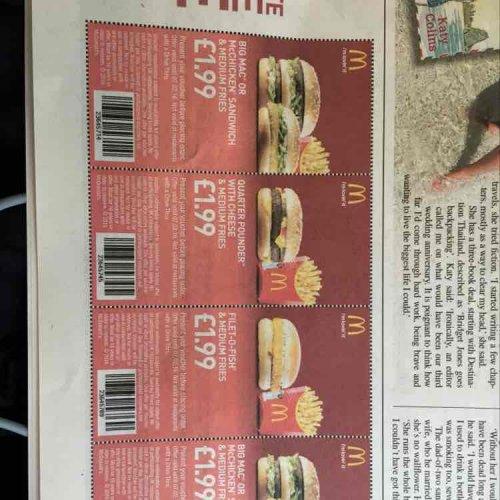 McDonald's Vouchers in today's Metro