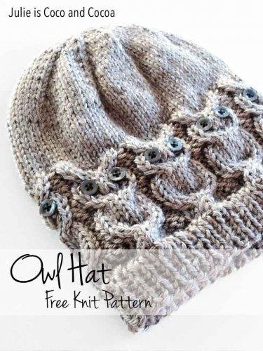 Free owl hat knitting pattern - (PDF file)
