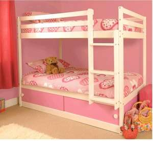 Girls Slide Storage White Wooden Bunk Bed with Pink Sliding Doors £159.88 @ comfy-living / Amazon
