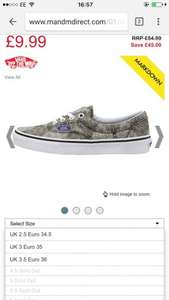 Vans Era Liberty Black £10 + £4.49 P&P  @ mandmdirect