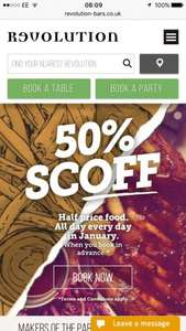Revolution bars 50% off food in January when you pre-book