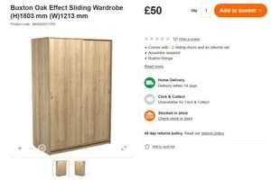 Large sliding wardrobe £50 or a Set for £85 with chest + b/side @ B&Q instore/online