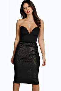 ALICE VELVET MIDI SKIRT Black Sizes 8-14 £3.00 @ Boohoo Free delivery