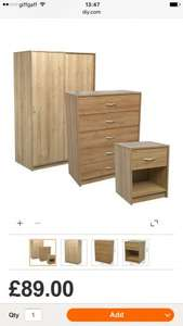 Wardrobe, drawers and bedside £89 @ B&Q