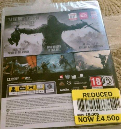 Shadow of Mordor PS3/Xbox 360 £4.50 instore @ Tesco Fratton.