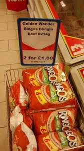 Golden Wonder Ringos - BANGIN BEEF flavour, 12 packs for a £1! Heron Foods.