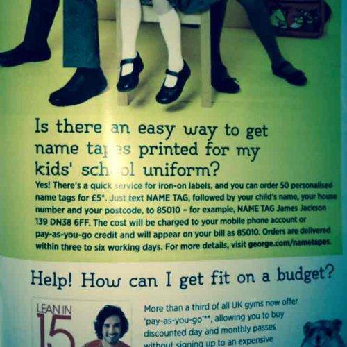 School Uniform Nametags £5 at Asda