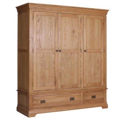 Loire Oak Farmhouse 3 Door 2 Drawer Wardrobe (LOR011) £474.98 @ Furniture123