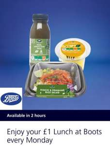 BOOTS MEAL DEAL ONLY £1 USUALLY £3.79 VIA o2 priority app